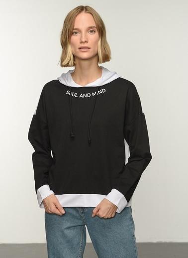 People By Fabrika PFKAW21SW0081 Baskılı Sweatshirt Siyah